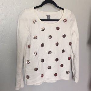 Aerie Off White and Rose Gold Sequin Long Sleeve